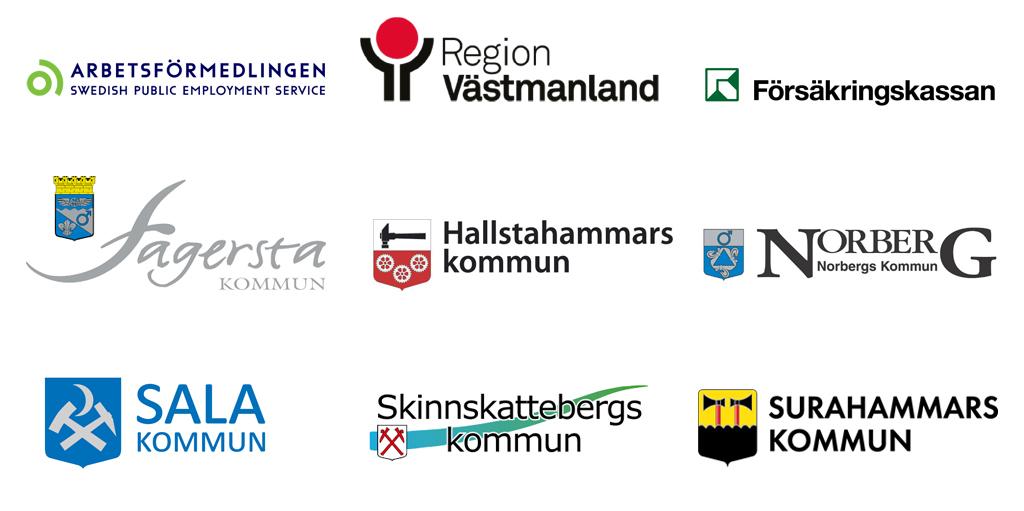 Förbundsmedlemmar - Arbetsförmedlingen, Region Västmanland, Försäkringskassan, Fagersta kommun, Hallstahammars kommun, Norbergs kommun, Sala kommun, Skinnskattebergs kommun och Surahammars kommun.